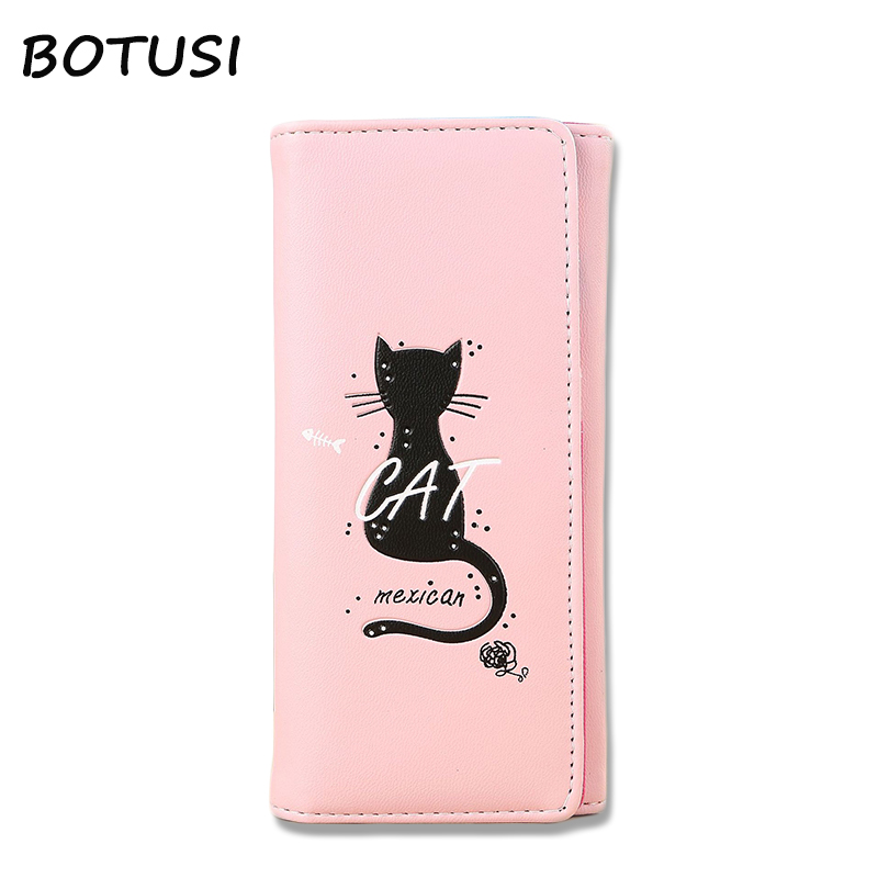 BOTUSI Cat Carton Womens Wallets and Purses PU 2019 Credit Card Holder Zipper Wallet Coin Purse for Cards Clutch Money