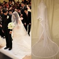 Layers White  Ivory 3M Veils Tulle Cathedral Long Crystal Beaded Flower Edge Wedding Accessory Bridal Veil