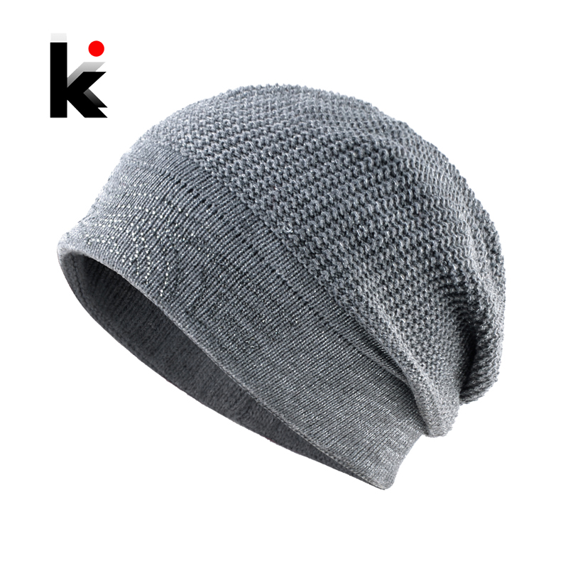 Winter Knitted Wool   Beanie   Hats Ladies Fashion Rhinestone   Skullies     Beanies   Women Shine Lining Hats Female Warm Knit Solid Bonnet