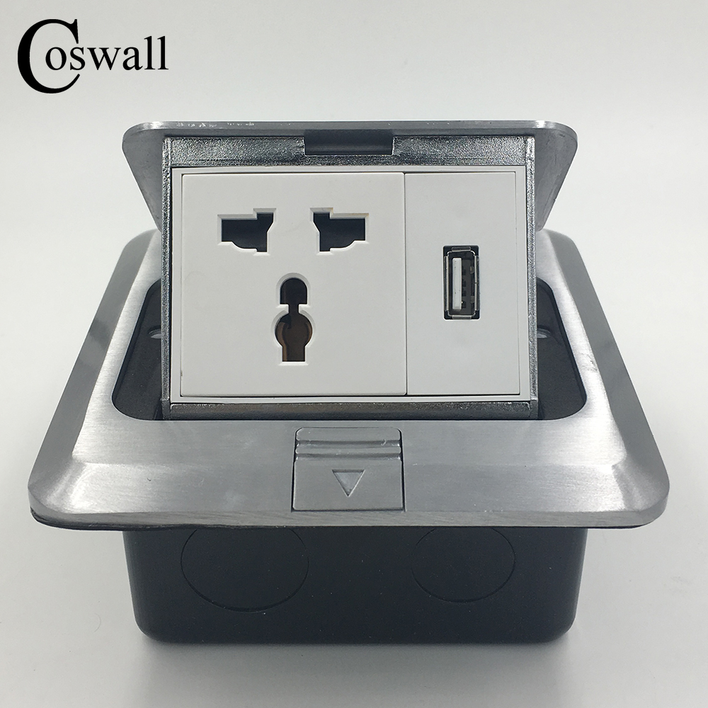 Coswall All Aluminum Silver Panel Pop Up Floor Socket 3 Hole Universal...
