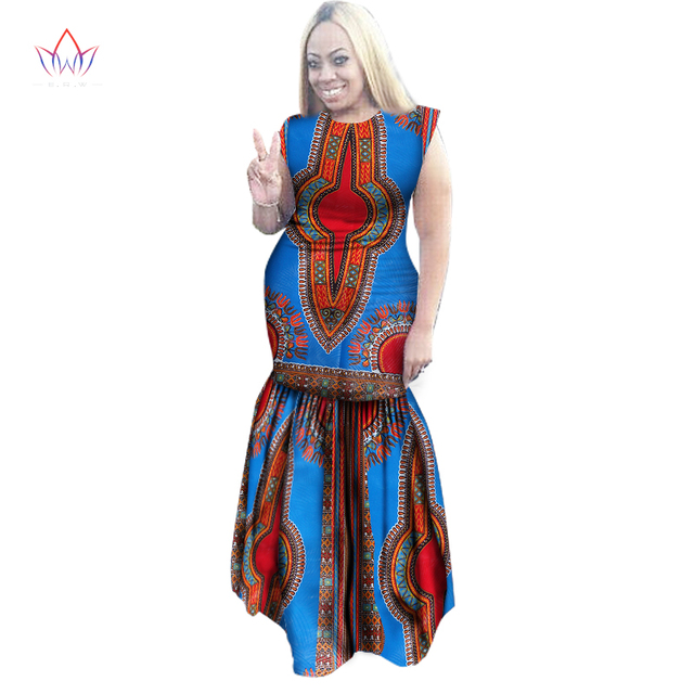 be910d13f9 Women Dress Sexy Dress Party Dresses Maxi Dress Dahiki African Print Cotton  Sleeveless Ankara Plus Size Women Clothing WY1570