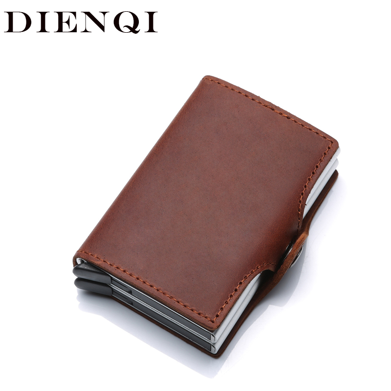 Crazy Horse Genuine Leather Men Women Business id Credit Card Holder Metal RFID Double Aluminium Box Wallet for Credit Card Case цена 2017