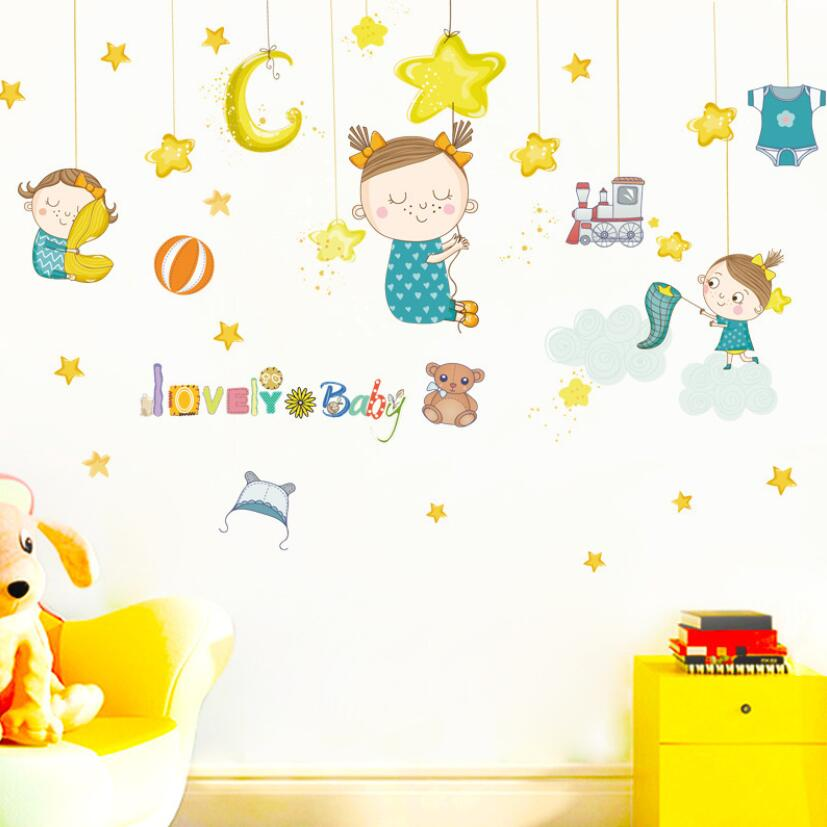 Wall Stickers Home & Garden Sincere Lovely Baby Girl Stickers Cute Cartoon Moon Star Wall Decals Sticker Kids Room Ornament Decoration Child Nursery Decor Qt075