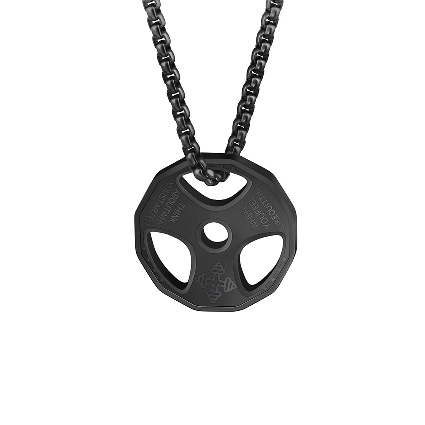 Pria Kebugaran Gym Kalung Piring Berat Barbell Dumbbell Pendant Angkat Berat Binaraga Latihan Stainless Steel Jewelry