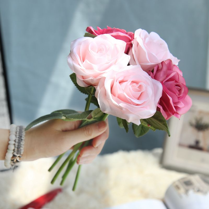 high quality 27cm Rose Pink Silk Artificial Flowers Bouquet Cheap Fake for Home Wedding Decoration indoor