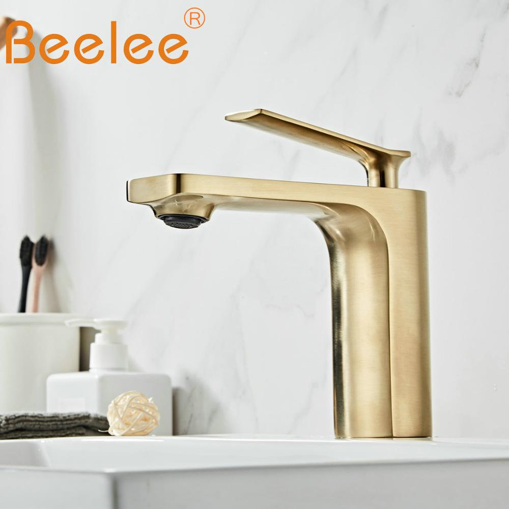 Us 4054 40 Offmodern Single Handle Bathroom Basin Faucet Laundry Vanity Sink Faucet Brushed Nickel Gold Finish Lavatory Faucet Bl6682bg In Basin