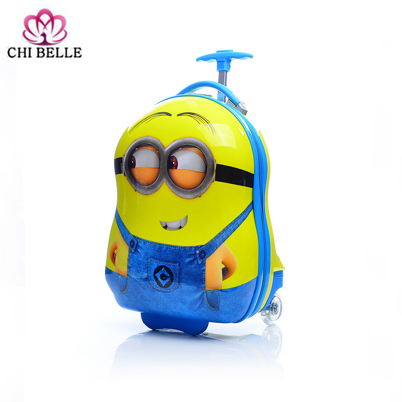 Student cartoon suitcase 16 inch children directional wheel trolley case small yellow people pull rod box children luggage bag