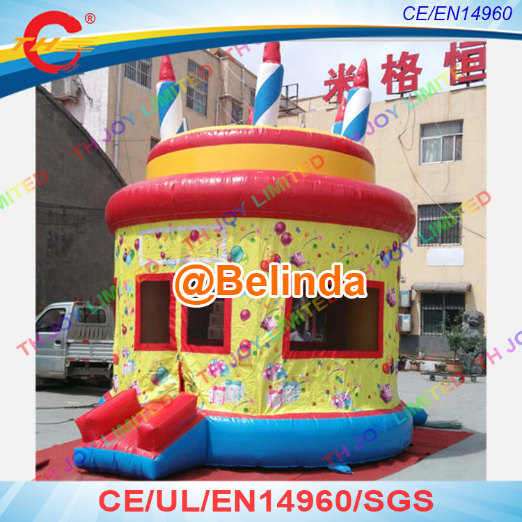 Free Shipping, Superior Inflatable Birthday Cake Bouncy