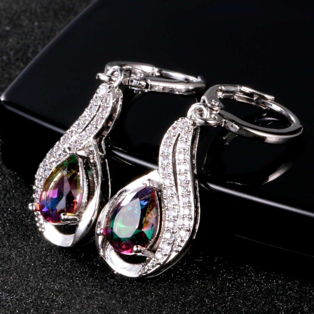 Luxury Jewelry Earrings Women's Water Drop Silver Earrings With AAAA Zircon New Fashion Fine Jewelry Girl Daily Life Accessories 1