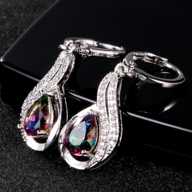 Water Drop Silver Earrings With Zircon | Fashion Jewelry