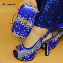 Royal Blue Shoes and Bag African Sets Italian lady shoes with Matching Bags  Nigerian Women Shoes 1480f8d1910b