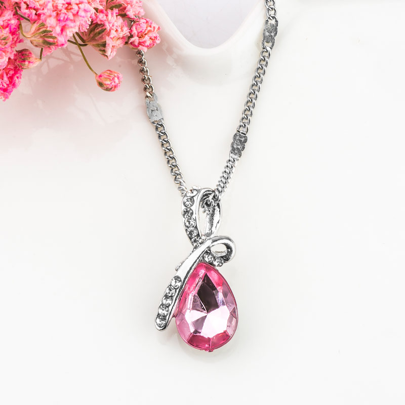 MISANANRYNE Fashion 10 Colors Austrian Crystal Water Drop Pendants&Necklaces Chain Necklace Fashion Jewelry For Women 18