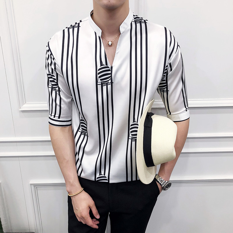 Summer striped printed sleeve   Polo   men shirt male Korean Edition V collar head BF wind loose five point 1917-P55