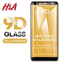 H & A 9D الزجاج المقسى لسامسونج غالاكسي J4 زائد J6 J8 A6 A8 A7 2018 حامي الشاشة A5 A3 A7 2017 فيلم واقية الزجاج