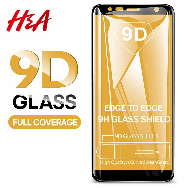 H & A 9D خفف من الزجاج لسامسونج غالاكسي J4 Plus J6 J8 A6 A8 A7 2018 واقي للشاشة A5 A3 A7 2017 زجاج واقي الفيلم