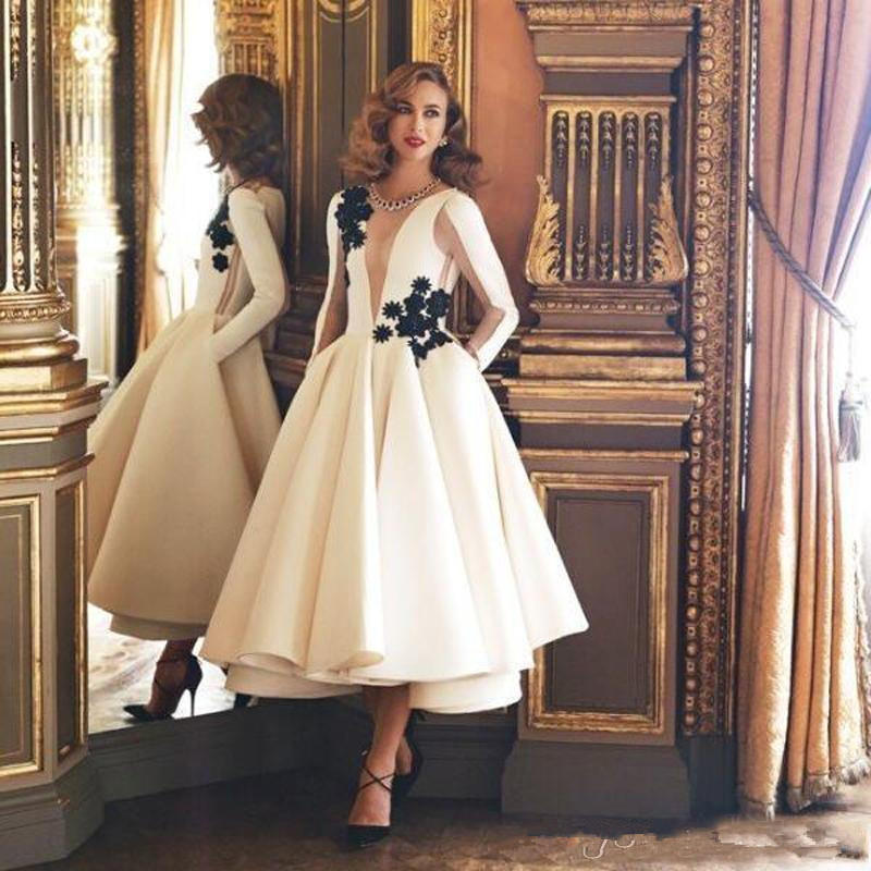 Exquisite Ivory/White A Line Cocktail Dresses 2019 Jewel Neck Long Sleeves Black Flower Tea Length Formal Gowns Homecoming Party