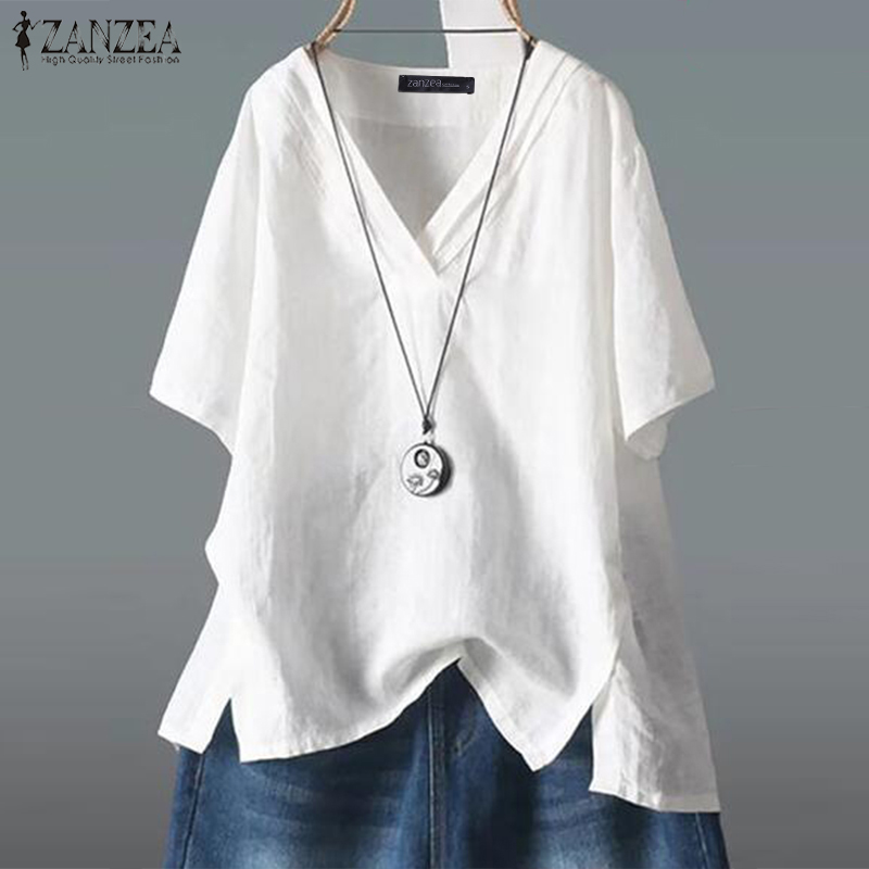ZANZEA Women Vintage Cotton Linen Blouse Summer Short Sleeve Shirt Robe Femme V Neck Tunic Tops Casual Solid Blusas Femininas
