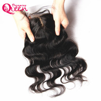 Dreaming Queen Hair Body Wave Brazilian Remy Hair Silk Base Closure With Baby Hair Hidden Knots