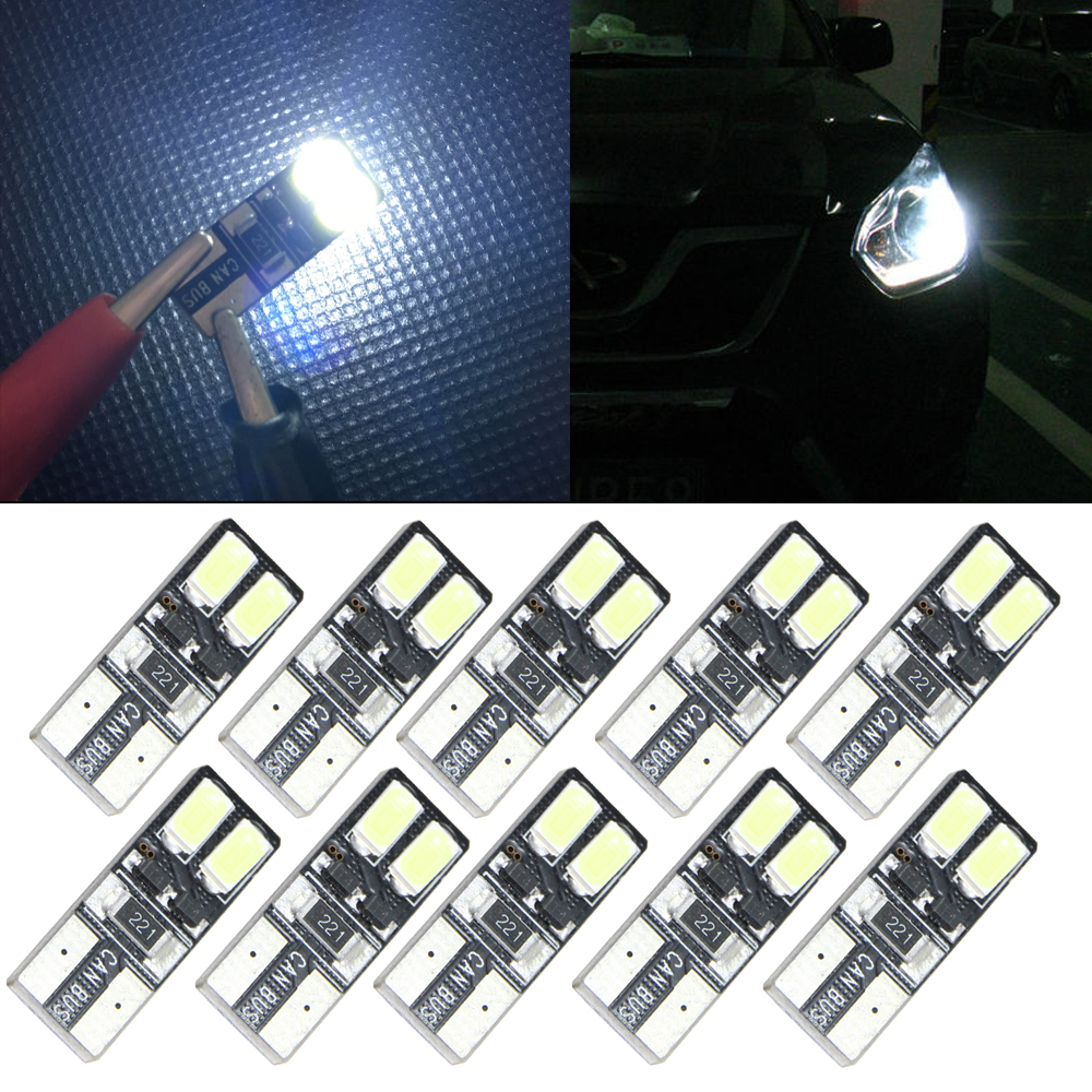 10X Auto Moto Canbus W5W T10 4 LED Erro Free License Plate Bulb Light Car 5W5 Cargo Door Dome Festoon C5W C10W LED Light Xenon 2pcs car led headlight kit led bulb d33 h11 free canbus auto led lamps white headlamp with yellow light fog light for citroen c4