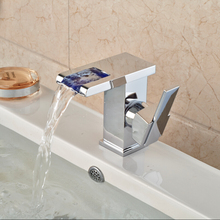 LED Light Waterfall Basin Sink Faucet Deck Mount Single Handle Mixer Taps Chrome Finish Square Shape