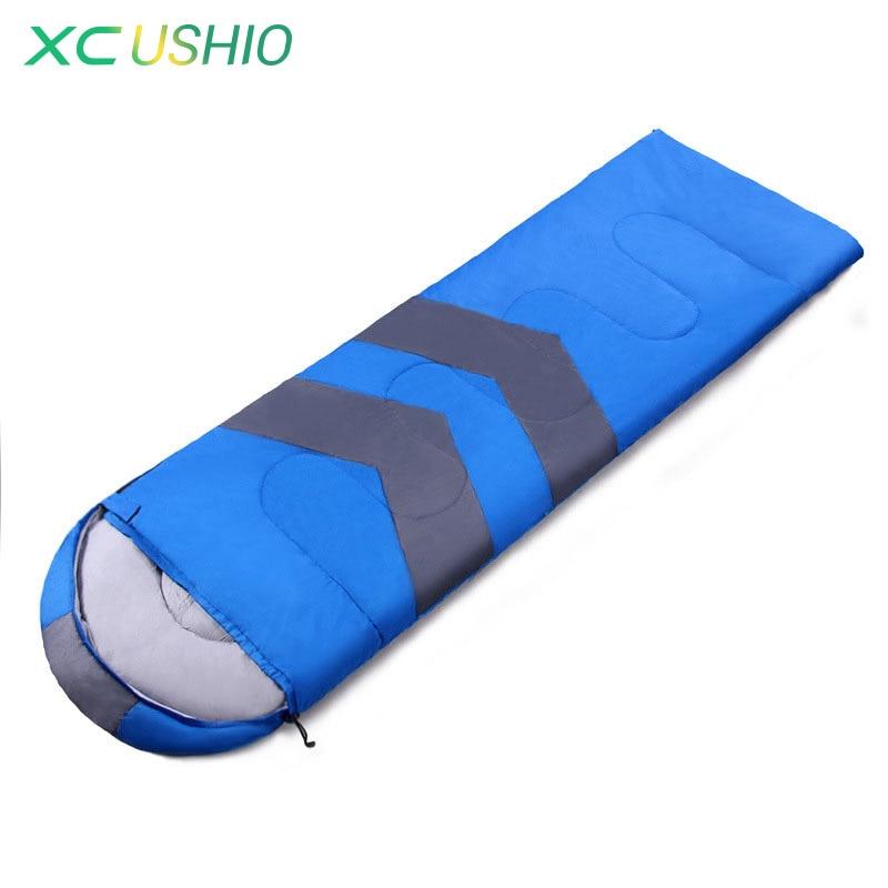 ФОТО Waterproof Outdoor Envelope Hooded Sleeping Bag Nylon Thicken Soft Thermal Camping Travel Hiking Sleeping Bag Adult