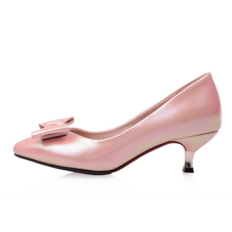 043df8e170bb ENMAYER Women Pointed Toe Cute Bowtie Shoes Pumps Low Heels Ladies Shoes  Woman Kitten Heel Pumps Pink Green White Shoes-in Women s Pumps from Shoes  on ...