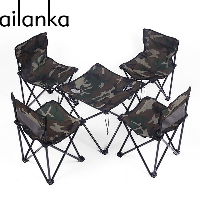 Outdoor Furniture Folding Table And Chair Set Army Style Camouflage  Rectangle Convenient Casual Fabric For Barbecue