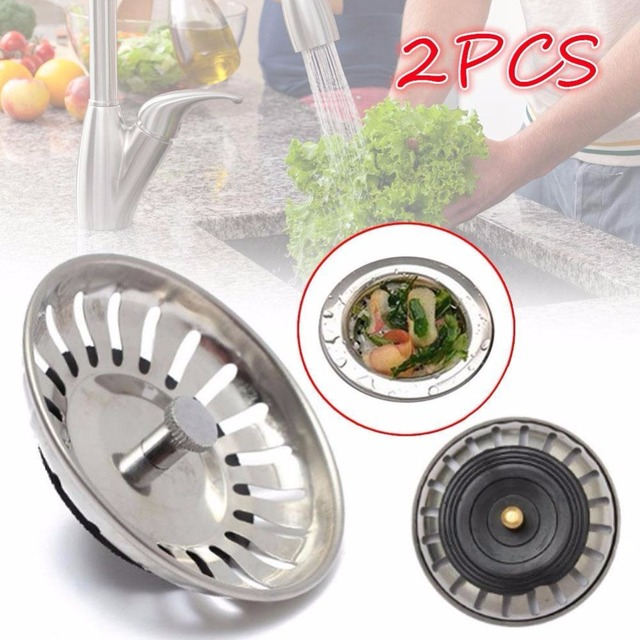 2PCS/Lot Stainless Steel Sink Drain Screen Filter Bathtub Hair ...