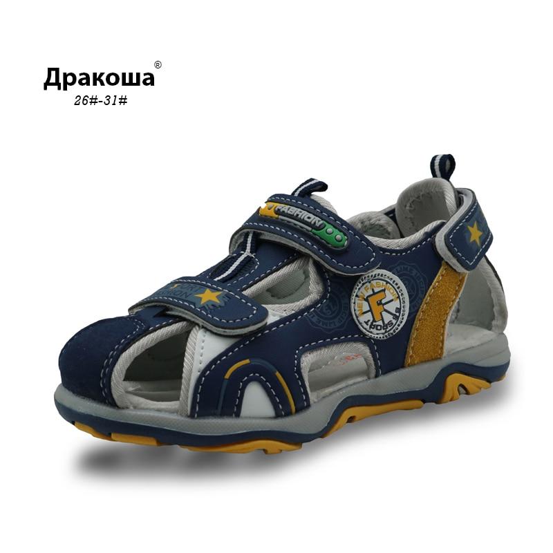 Apakowa Kids Summer Footwear Boy's Closed Toe Sandals With Arch Support Boys Sport Beach Sandals For Children Sports Sandals