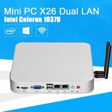 Dual LAN Windows 10 мини-ПК Celeron 1037U 1.80 ГГц тонкий клиент настольный компьютер 4 ГБ Оперативная память 250 ГБ SSD HDMI VGA RS232 WI-FI HTPC ноутбука