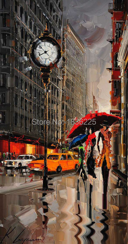 Ručně malované moderní design milenci datování pod deštník hodiny chodit na pouliční scenérie olejomalba pár dekorace plátno umění