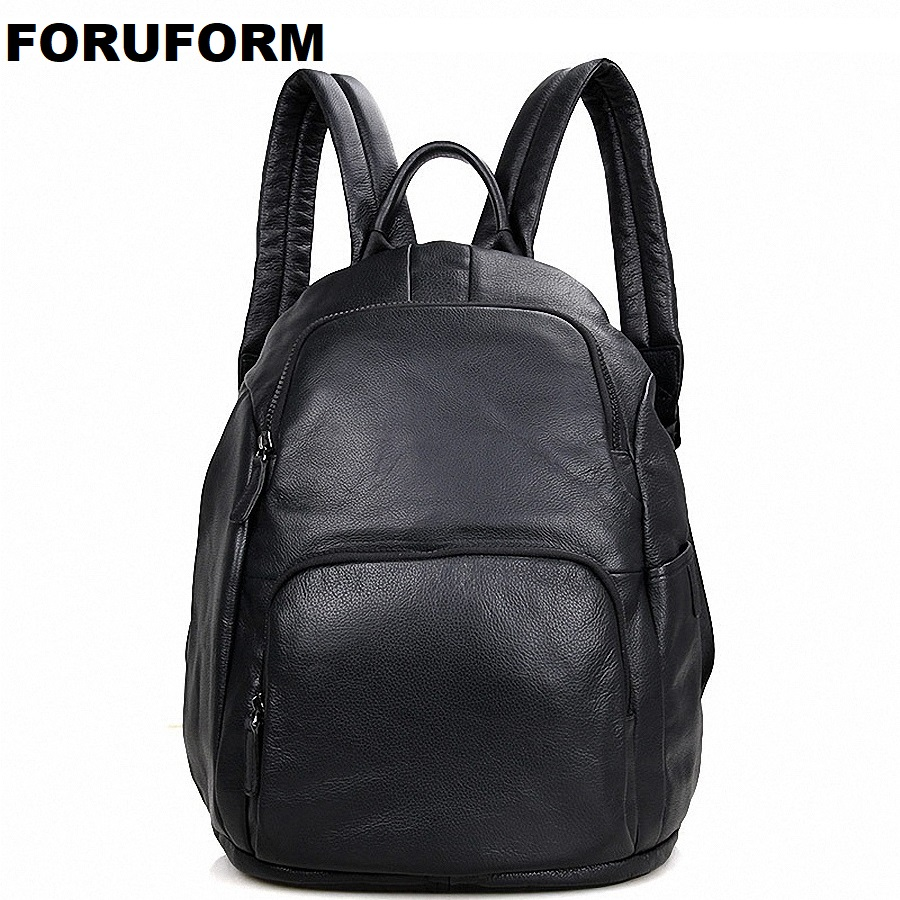 New 100% Genuine Leather Laptop Men Backpacks 14 Inch School Backpacks Notebook Travel Bag Men Women SCHOOL Backpacks LI-1748
