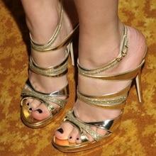 Women High Heels Sandals Gold Metallic Clear PVC Studs Stiletto Heel Ankle Strap Sandals