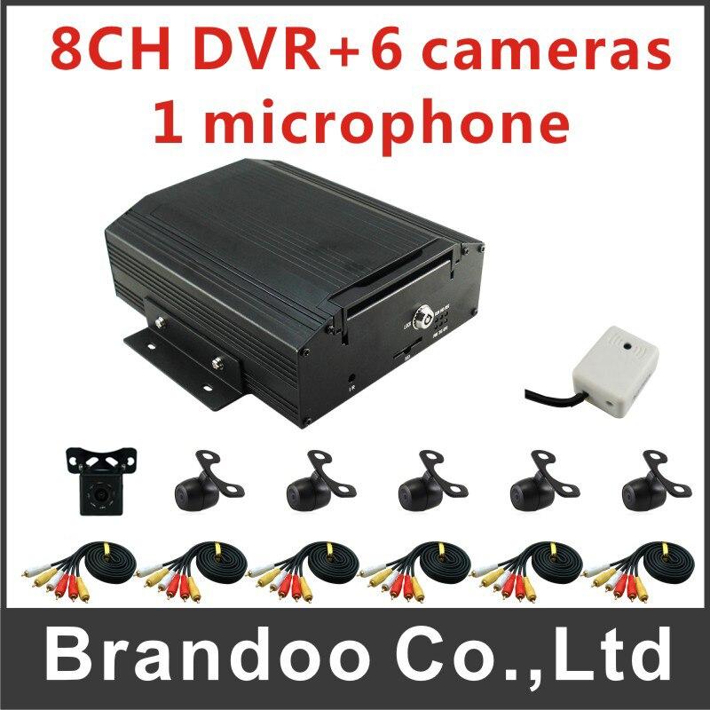 960H 8 Channel Mobile Car DVR + 4pcs Mini Car Camera + 2pcs Mini IR Camera + Car Monitor for Bus Taxi Truck