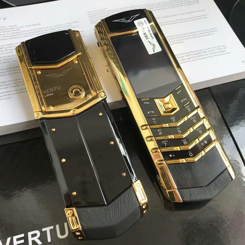 K8+ Bar Luxury Metal Signature Phone Dual Sim No Camera Normal Leather Ceramics Back Bluetooth IMEI Changable P446