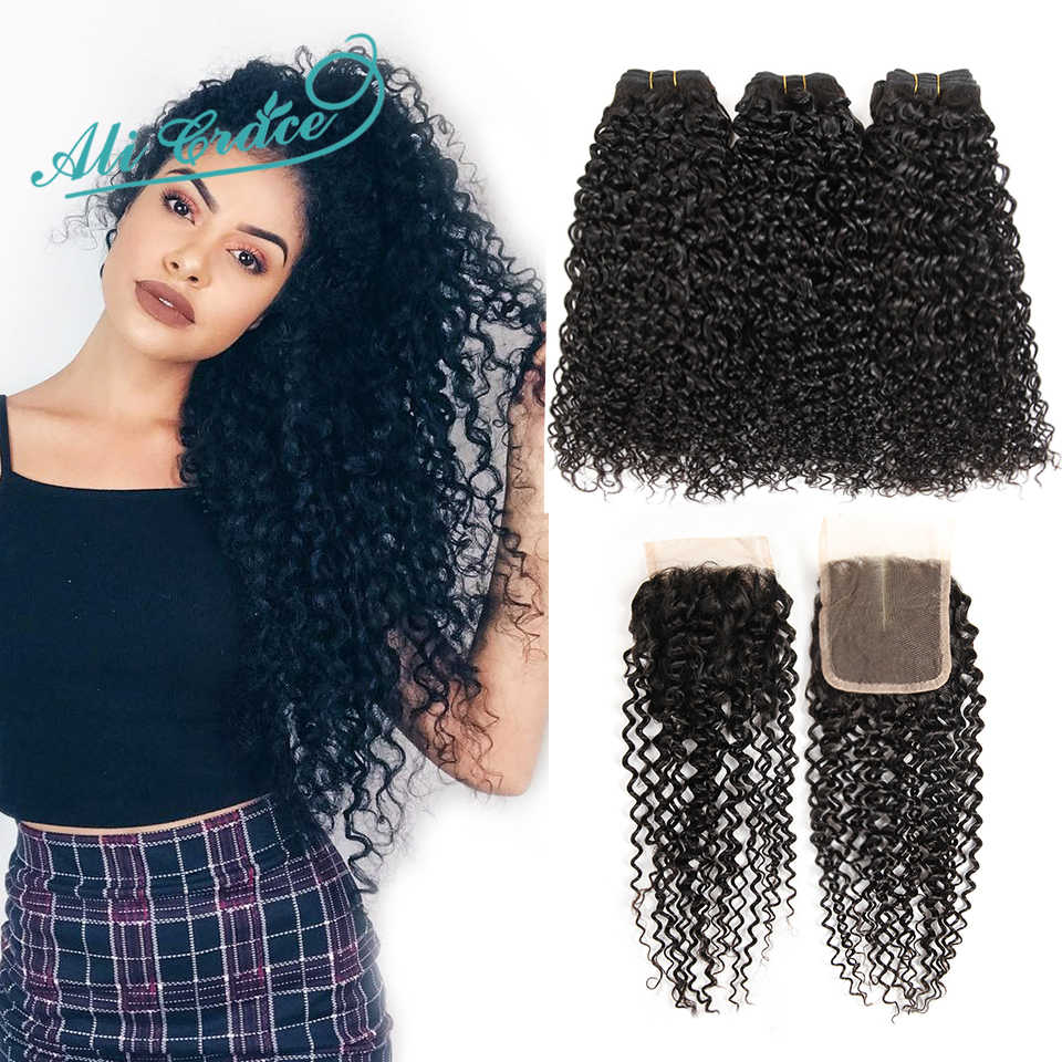Ali Grace Hair Brazilian Kinky Curly Hair With Closure 4*4 Free Middle Part 100% Remy Human Hair 3 Bundles With Lace Closure
