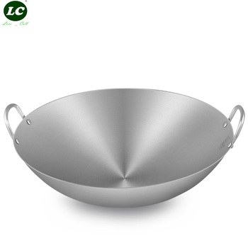 Cooking Wok Utensil 34-80CM Camping Stainless Steel Cooking Wok Large Cookware Pan no Coating Pot Kitchen Cookware