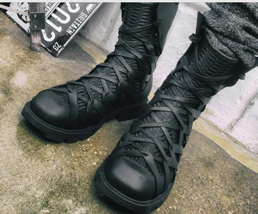 Mens Mid Calf Boots Lace Up Combat Military Casual Fashion Casual Leather Shoes Black G21