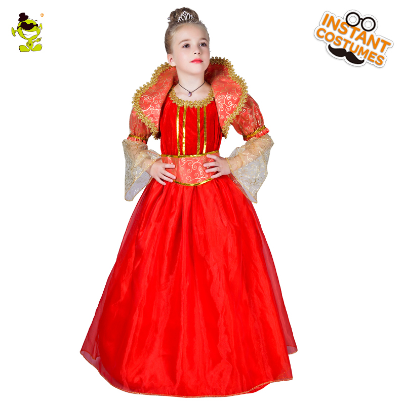 Hot Sell Red Princess Dress for Girls Noble Queen Show Clothes for Halloween Carnival Masquerade Party Costume Dress