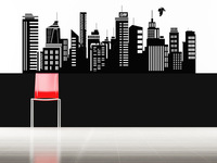 SUPERHERO Iron Man Movie Gotham Skyline POP CITY WALL ART STICKER VINYL DECAL DIE CUT FOR CHILDREN KIDS ROOM STENCIL MURAL DECOR