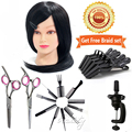 """22"""" 100% Real Hair for Hairdressers Cosmetology Mannequin Head Hairdressing Doll Heads with Free Salon Hair Tools B20Q"""