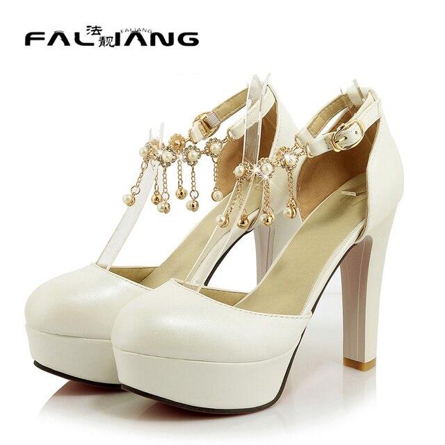 1251a6582 Mulheres verão festa de formatura sapatos senhoras plataforma peep toe  branco bege sandálias de tiras de