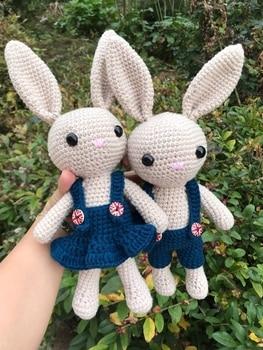около 26 см шерстяная кукла кролик плюшевые игрушки вязание крючком