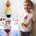 SY090 New 2017 kids clothes children's drawing big head son cotton t-shirt kids summer top fabric high quality children clothing