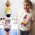 Sy090 novo 2017 roupa dos miúdos das crianças desenho big head filho de algodão t-shirt crianças verão top tecido de alta qualidade para crianças roupas