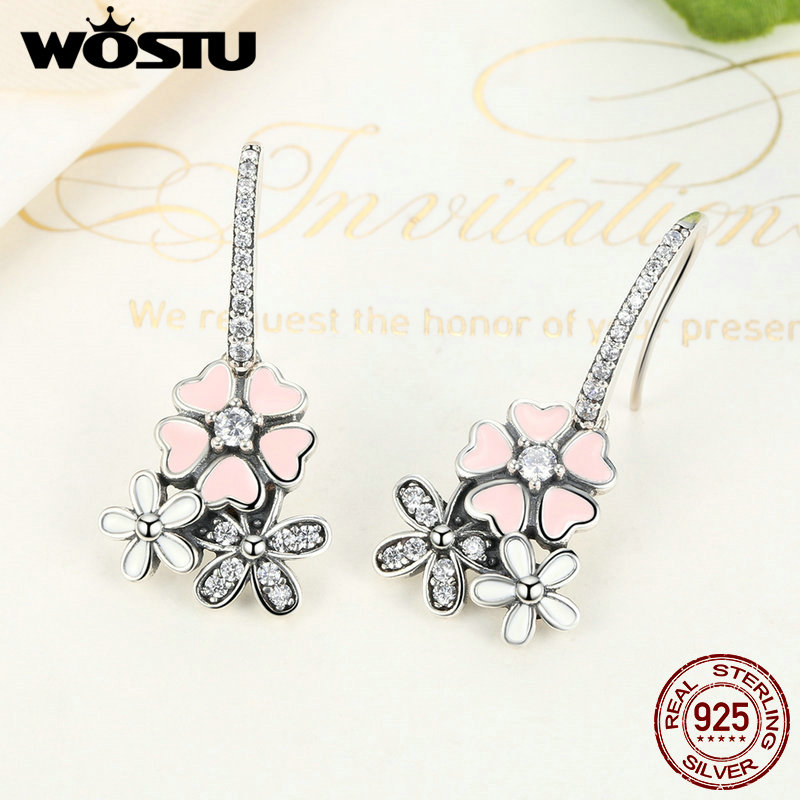 High Quality 925 Sterling Silver Poetic Daisy Cherry Blossom Drop Earrings For Women Luxury Original Fine Jewelry Gift CQE016 2