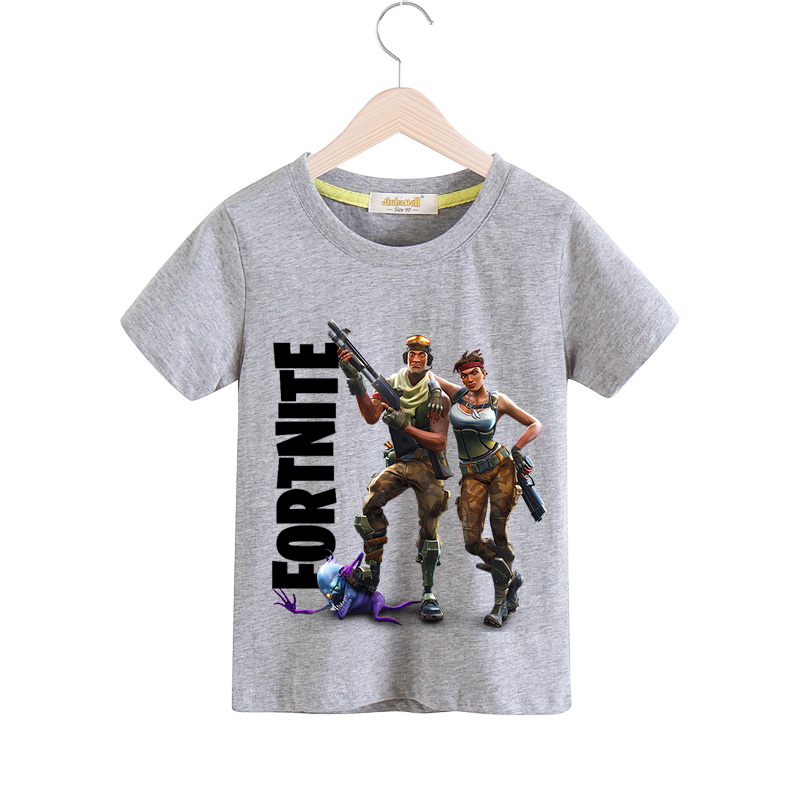 2018 New Children Cartoon Fortnite Print T-shirt For Boy T Shirt Girls Clothing Baby Cotton Short Sleeve Tee Tops Clothes TX053 2017 baby new batman printing clothes boy cartoon t shirt girl 9 colors t shirt children short sleeve tee tops for kids acy031