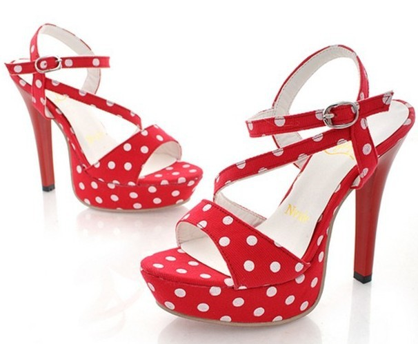 2014 New White Red Black Summer Sexy Stiletto Pumps Platform Polka Dot  Women Sandal Shoes Red Sole Thin High Heel Sandalias -in Women s Sandals  from Shoes ... 4fc97c2adda9