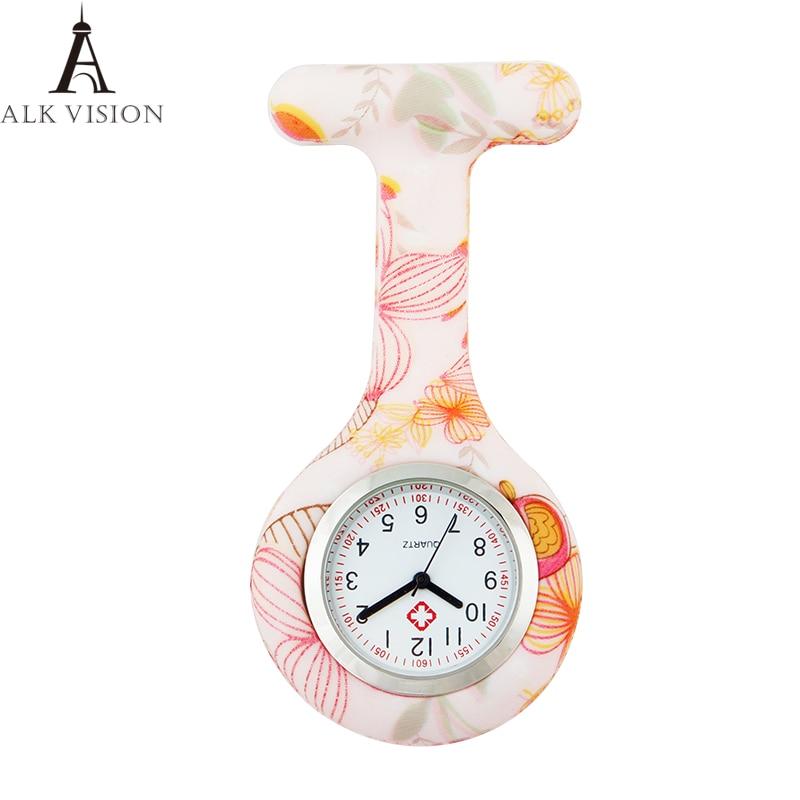 2018 Fashion Colorful Medical Nurse Watch Fob Quartz Nurses Watch Numerals Round Dial Silicone Nurses Nursing Clock ALK VISION