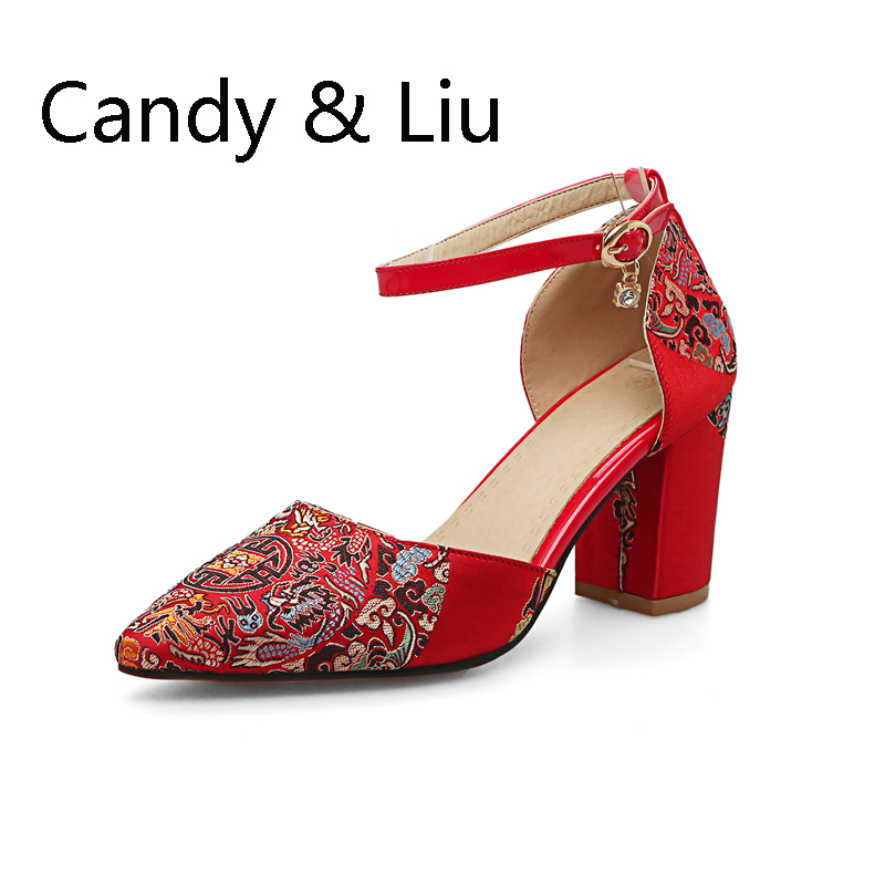 2017 autumn new red wedding shoes women national style, Chinese style shoes, high heel sandals embroider style national каталог